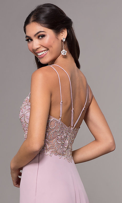 Image of sweetheart chiffon prom dress with adjustable straps. Style: SOI-W17850-v Detail Image 2