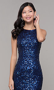 Image of caged-back long sequin blue prom dress by PromGirl. Style: PV-PL-101-v Detail Image 1