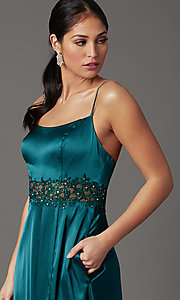 Image of beaded-waist long prom dress in hunter green. Style: CT-2622GK8B Detail Image 1