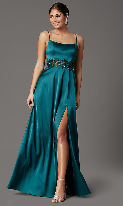 Image of beaded-waist long prom dress in hunter green. Style: CT-2622GK8B Front Image