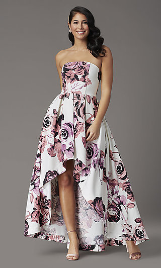 Floral-Print High-Low Strapless Formal Prom Dress