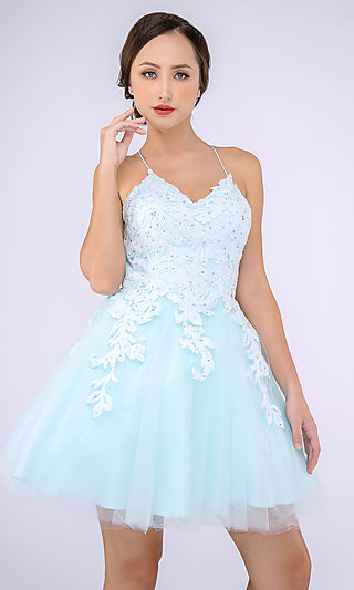 Babydoll Hoco Dress with a Lace-Up Back