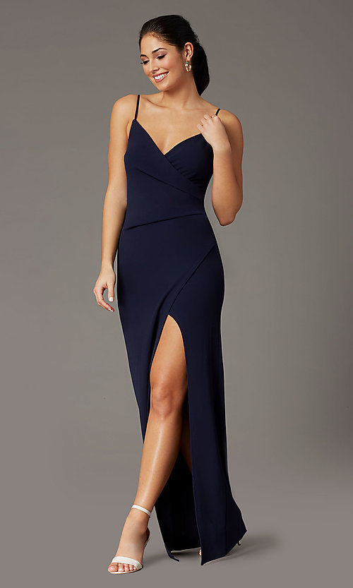 Image of long crepe formal prom dress in navy blue. Style: EM-CWP-3405-430 Front Image