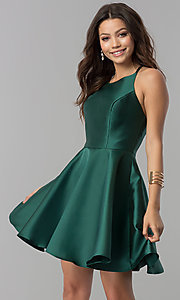 Image of short open-back Alyce fit-and-flare party dress. Style: AL-3703-v Front Image