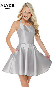Image of short open-back Alyce fit-and-flare party dress. Style: AL-3703-v Detail Image 2