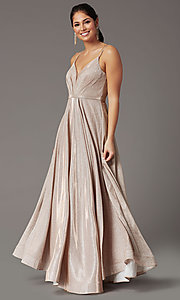 Image of pleated-bodice long glitter-knit formal prom dress. Style: DQ-2867 Front Image