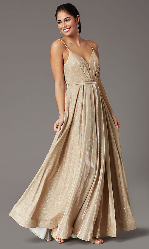 Image of pleated-bodice long glitter-knit formal prom dress. Style: DQ-2867 Detail Image 6