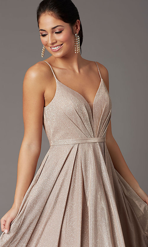 Image of pleated-bodice long glitter-knit formal prom dress. Style: DQ-2867 Detail Image 1