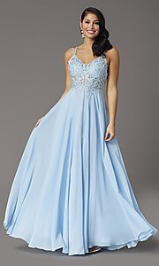 Image of v-neck embroidered-applique-bodice long prom dress. Style: DQ-2890 Front Image