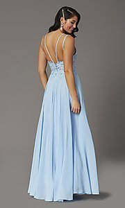Image of v-neck embroidered-applique-bodice long prom dress. Style: DQ-2890 Back Image