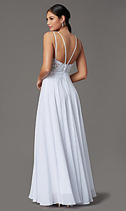 Image of v-neck embroidered-applique-bodice long prom dress. Style: DQ-2890 Detail Image 8