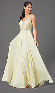 Image of v-neck embroidered-applique-bodice long prom dress. Style: DQ-2890 Detail Image 5