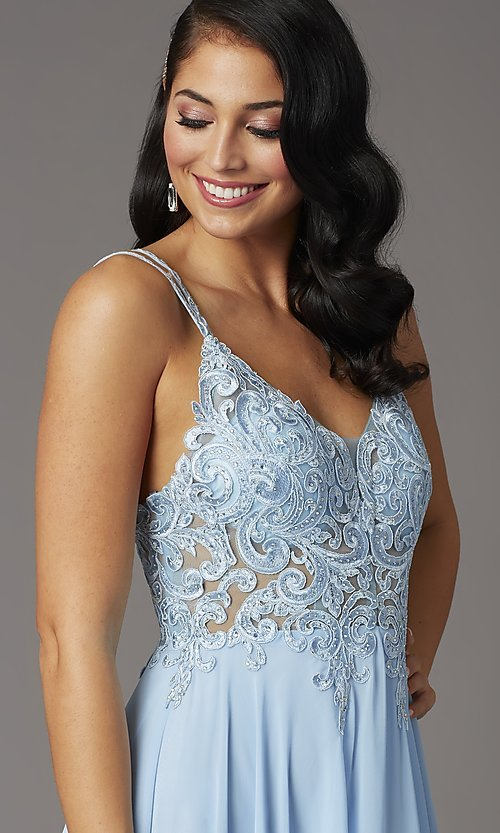 Image of v-neck embroidered-applique-bodice long prom dress. Style: DQ-2890 Detail Image 1