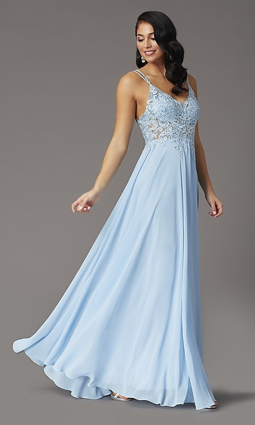 Image of v-neck embroidered-applique-bodice long prom dress. Style: DQ-2890 Detail Image 2
