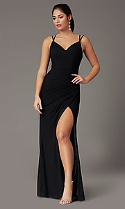 Image of long v-neck faux-wrap formal prom dress. Style: DQ-2905 Detail Image 7