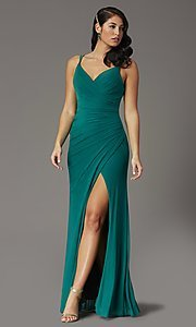 Image of long v-neck faux-wrap formal prom dress. Style: DQ-2905 Detail Image 5