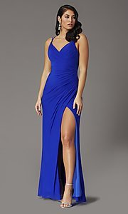 Image of long v-neck faux-wrap formal prom dress. Style: DQ-2905 Front Image