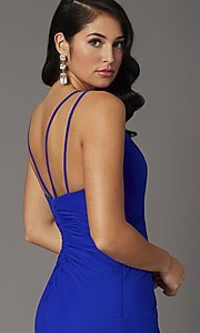 Image of long v-neck faux-wrap formal prom dress. Style: DQ-2905 Detail Image 2