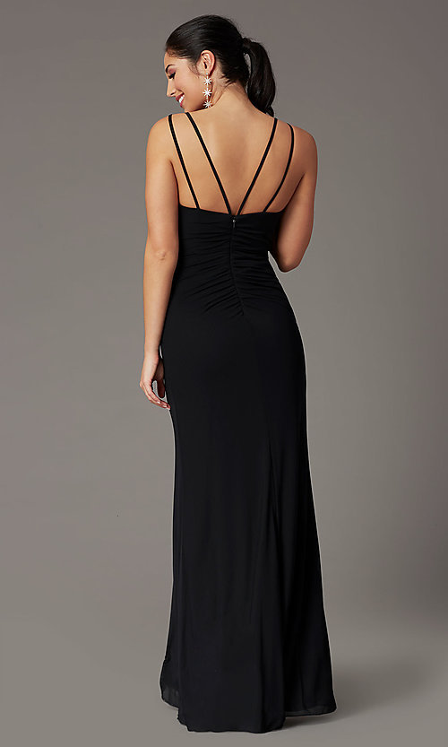 Image of long v-neck faux-wrap formal prom dress. Style: DQ-2905 Detail Image 8