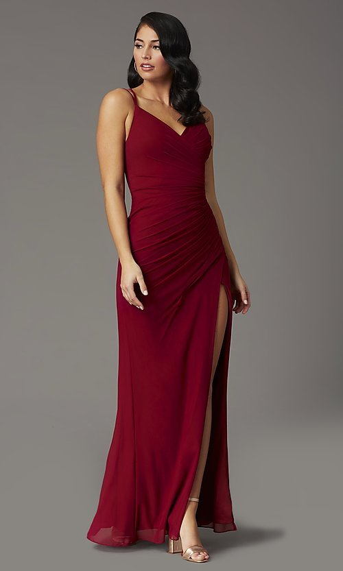 Image of long v-neck faux-wrap formal prom dress. Style: DQ-2905 Detail Image 3