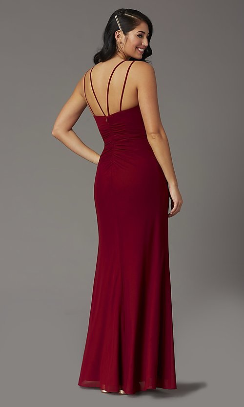 Image of long v-neck faux-wrap formal prom dress. Style: DQ-2905 Detail Image 4