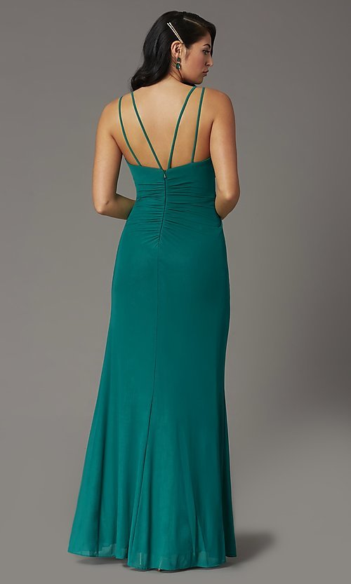Image of long v-neck faux-wrap formal prom dress. Style: DQ-2905 Detail Image 6