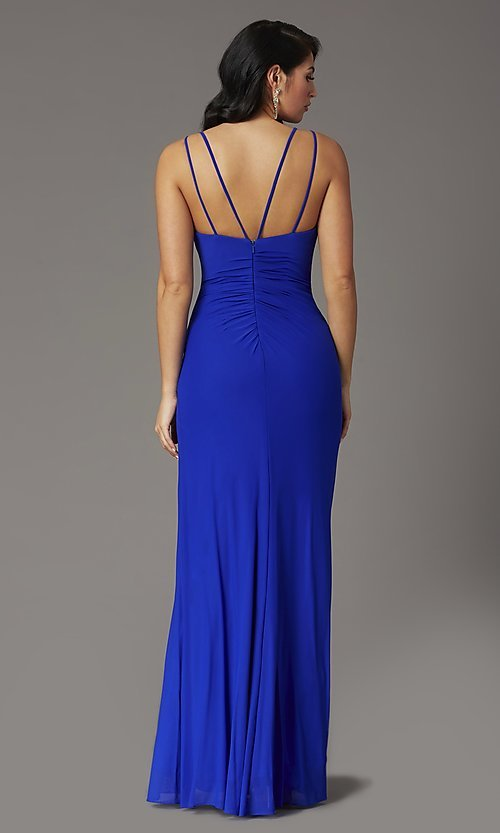 Image of long v-neck faux-wrap formal prom dress. Style: DQ-2905 Back Image