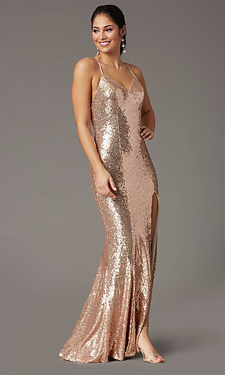Backless Rose Gold Long Sequin Formal Prom Dress