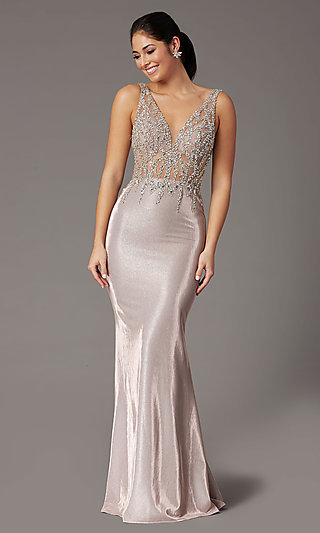 Metallic Rose Gold Prom Dress with Beaded Bodice