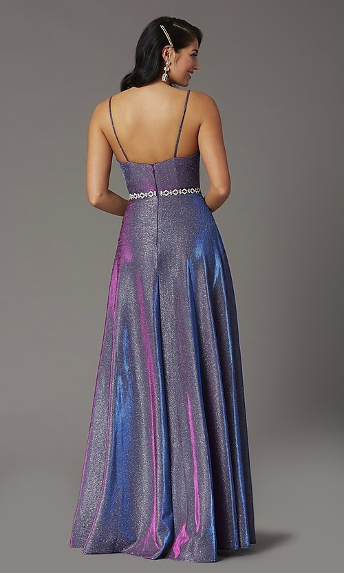 Image of glitter-knit long faux-wrap prom dress. Style: DQ-2955 Back Image