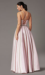 Image of long metallic glitter prom dress with corset. Style: DQ-2958 Detail Image 4