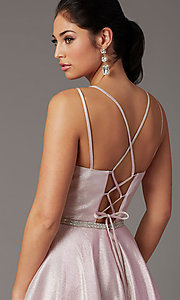 Image of long metallic glitter prom dress with corset. Style: DQ-2958 Detail Image 5