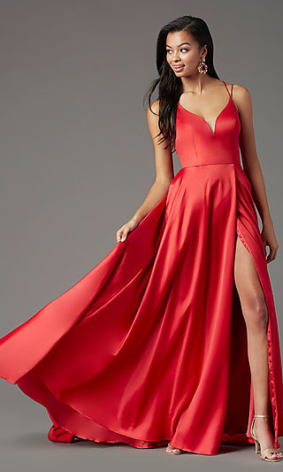 Corset-Style V-Neck Long Prom Dress by PromGirl