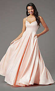 Image of v-neck long faux-wrap prom dress by PromGirl. Style: PG-B2003 Detail Image 2