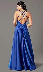 Image of v-neck long faux-wrap prom dress by PromGirl. Style: PG-B2003 Back Image