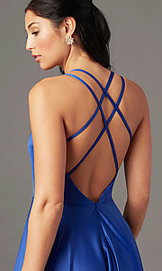 Image of v-neck long faux-wrap prom dress by PromGirl. Style: PG-B2003 Detail Image 1