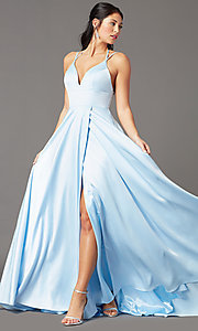 Image of strappy-back long formal prom dress by PromGirl. Style: PG-B2008 Front Image