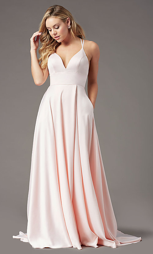 Image of strappy-back long formal prom dress by PromGirl. Style: PG-B2008 Detail Image 3