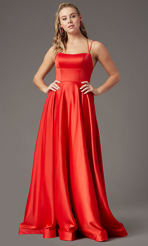 Image of square-neck long formal prom dress by PromGirl. Style: PG-B2010 Detail Image 6