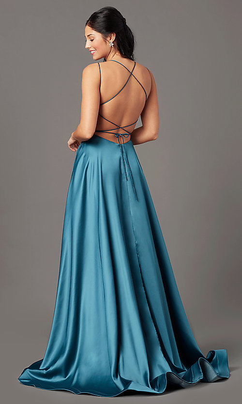 Image of square-neck long formal prom dress by PromGirl. Style: PG-B2010 Back Image