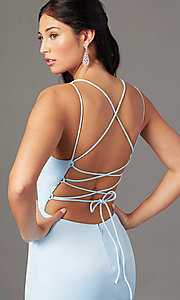 Image of long open-back sheath prom dress by PromGirl. Style: PG-B2030 Detail Image 1