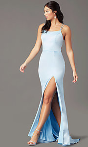 Image of long open-back sheath prom dress by PromGirl. Style: PG-B2030 Detail Image 2