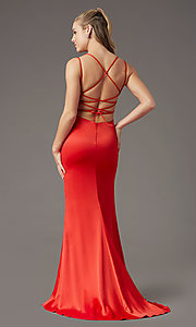 Image of long open-back sheath prom dress by PromGirl. Style: PG-B2030 Detail Image 8