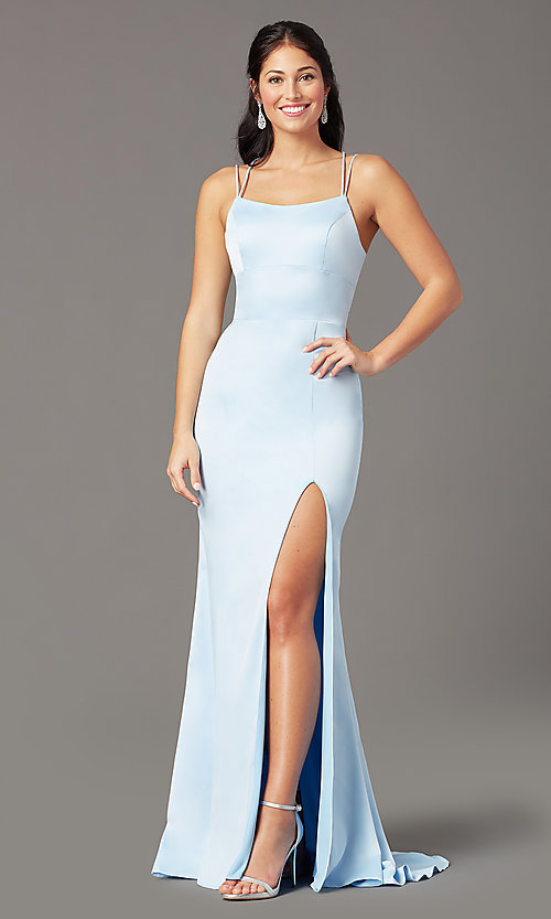 Image of long open-back sheath prom dress by PromGirl. Style: PG-B2030 Front Image