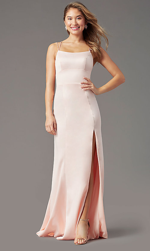 Image of long open-back sheath prom dress by PromGirl. Style: PG-B2030 Detail Image 3