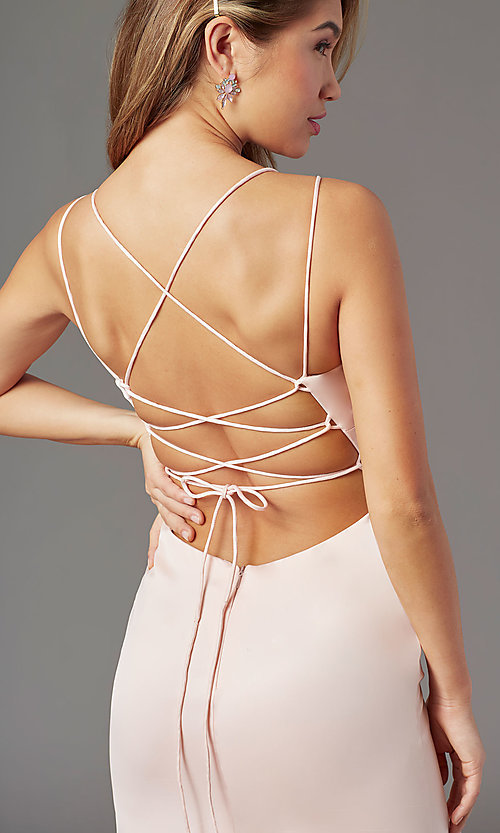 Image of long open-back sheath prom dress by PromGirl. Style: PG-B2030 Detail Image 5