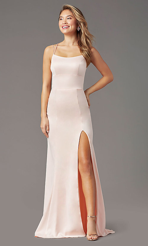 Image of long open-back sheath prom dress by PromGirl. Style: PG-B2030 Detail Image 6