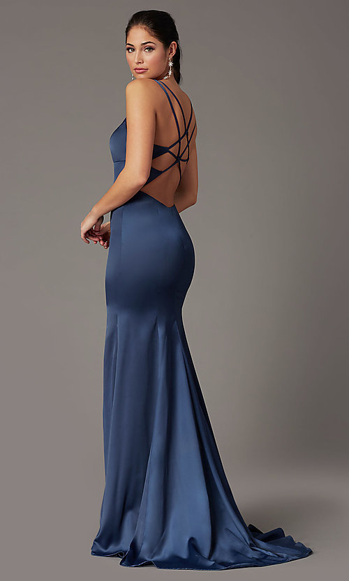 Image of open-back blueberry blue prom dress by PromGirl. Style: PG-B2035 Front Image