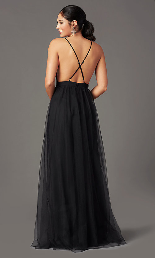 Image of long open-back formal tulle prom dress by PromGirl. Style: PG-B2042 Detail Image 4