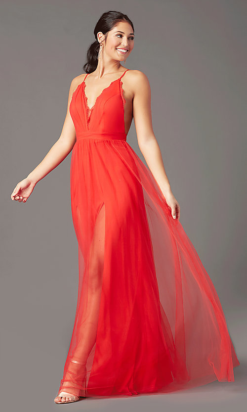 Image of long open-back formal tulle prom dress by PromGirl. Style: PG-B2042 Front Image